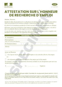 Cerfa 14329 01 Attestation Sur L Honneur De Recherche D Emploi