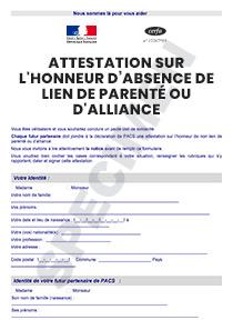 Cerfa 15432 01 Attestation Sur L Honneur D Absence De Lien De