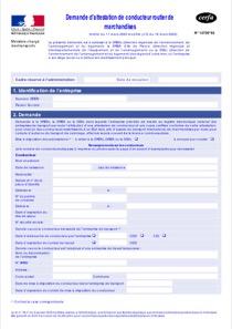 CERFA 12726-02 : Attestation de conducteur routier de marchandise ( DREAL ) | Startdoc