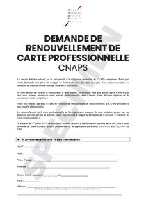 demande de carte professionnelle agent de sécurité CNAPS formulaire de demande de renouvellement de carte