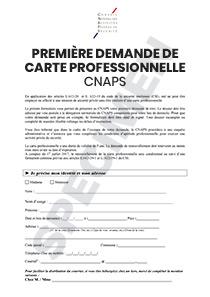 demande de carte professionnelle agent de sécurité CNAPS formulaire de première demande de carte professionnelle