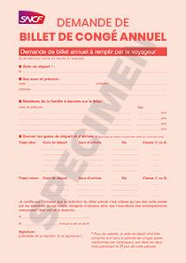 Formulaire De Demande Sncf De Billet De Conge Annuel Salarie Et