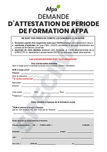 Formulaire De Demande D Attestation De Formation Afpa Pour