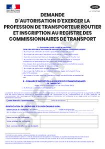 933b91c1462 CERFA 14557-03   Demande d autorisation d exercer la profession de  transporteur