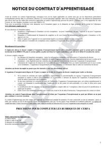 CERFA 51649-03 : Notice pour le contrat d'apprentissage - Formulaire FA13   Startdoc