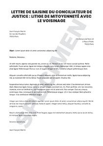 Lettre De Saisine Du Conciliateur De Justice Litige De Mitoyennete