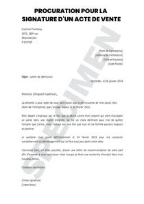 Lettre de procuration pour la signature d'un acte de vente   Startdoc