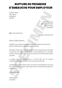 Lettre de rupture d'une promesse d'embauche pour employeur | Startdoc