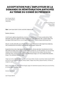 Acceptation Par L Employeur De La Demande De Reintegration Anticipee Au Terme Du Conge De Presence Parentale Startdoc
