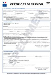 Formulaire Certificat De Cession De Vehicule Startdoc